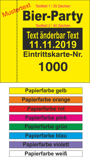 1000 Eintrittskarten LITTLE, 2 x Text änderbar